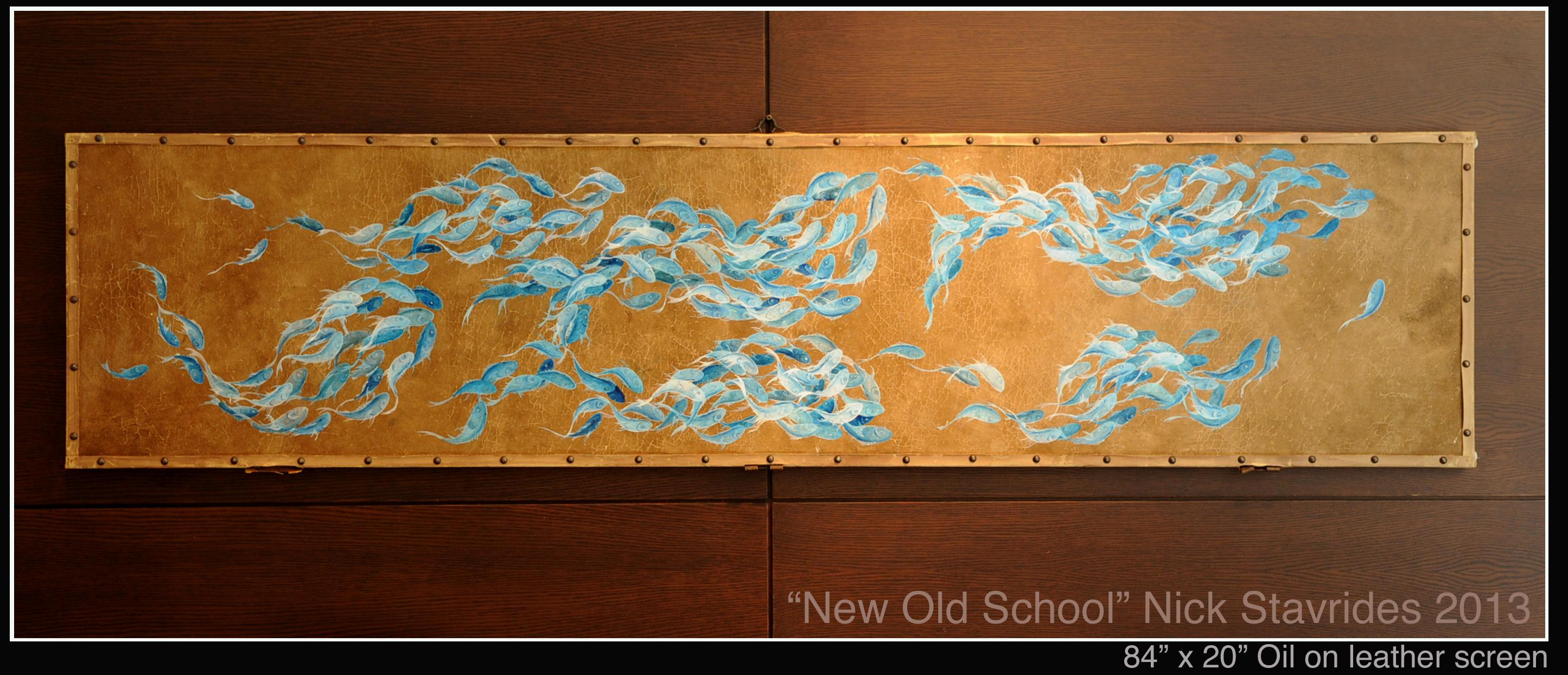 "Oil on Leather 84"" x 20"" $5,500"